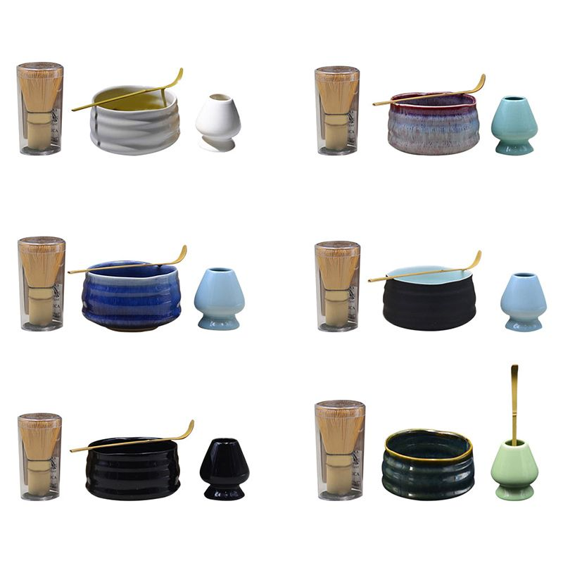 Matcha Tea Sets Green Tea Whisk Set Mixing Spoon Bowl Set Bamboo Ceramic Japanese Tea Ceremony Tool Combination Accessories Gift