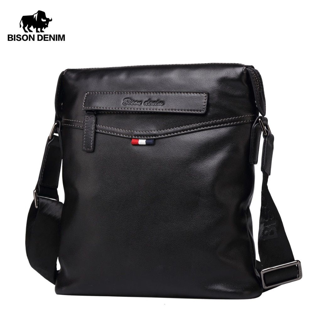 BISON DENIM Bag Men Classic Genuine Leather Crossbody Bag Business Shoulder Bag Large Capacity Ipad Messenger Bag Black N2490-1