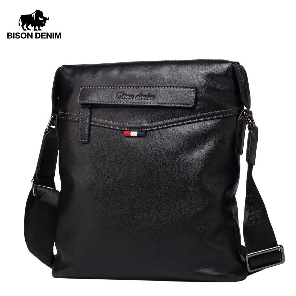 BISON DENIM Bag Men Classic Genuine Leather <font><b>Crossbody</b></font> Bag Business Shoulder Bag Large Capacity Ipad Messenger Bag Black N2490-1