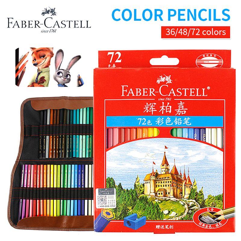 Faber-castell 36/48/72 ensemble de crayons de couleur peinture professionnelle ensemble de crayons de couleur huileuse pour dessin croquis peinture fournitures d'art