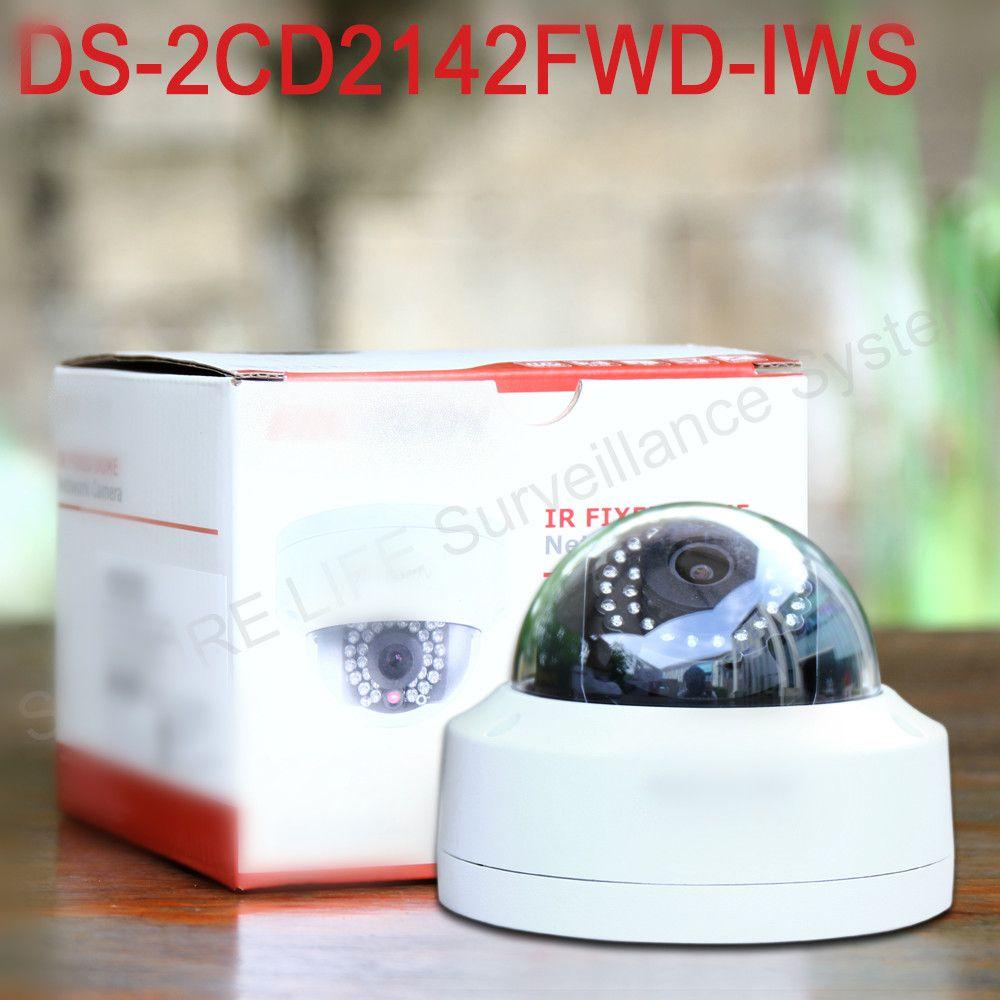 In stock DS-2CD2142FWD-IWS English version mini wifi dome cctv network camera 4MP, P2P ezviz 1080p IP camera POE 120dB WDR
