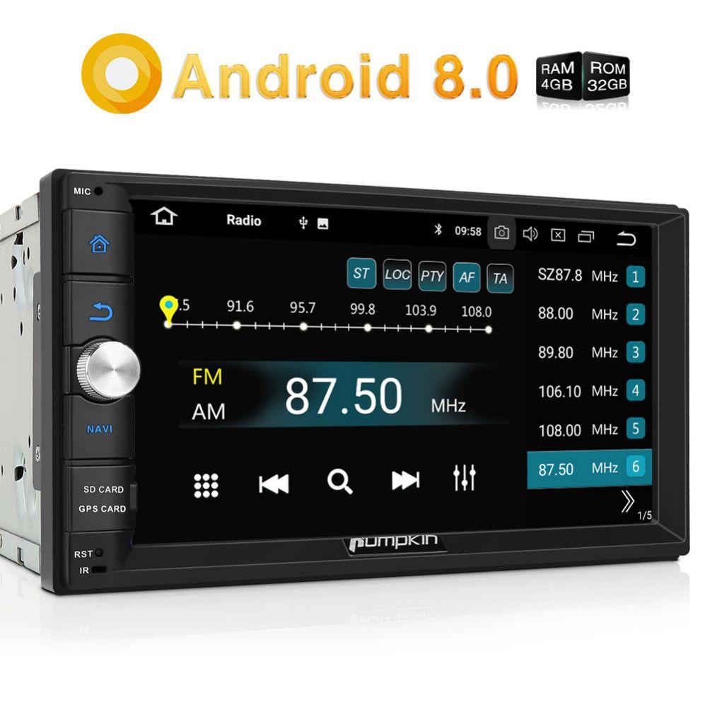 Pumpkin 2 Din 7'' Android 8.0 Universal Car Radio No DVD Player Qcta-Core GPS Navigation Car Stereo Wifi 3G/4G DAB+ USB Headunit