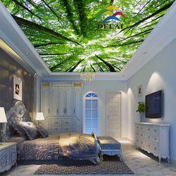 T-1605 árboles con hojas verdes impresión techo con luz led nuevo material de decoración