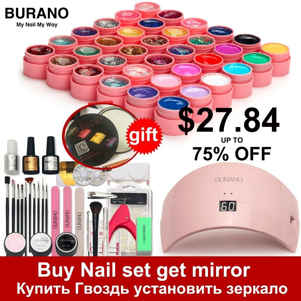 5-15 days Russian Delivery nail set BURANO manicure set 36W LED Lamp with 36 Color UV Gel Nail polish kit gel nail polish set