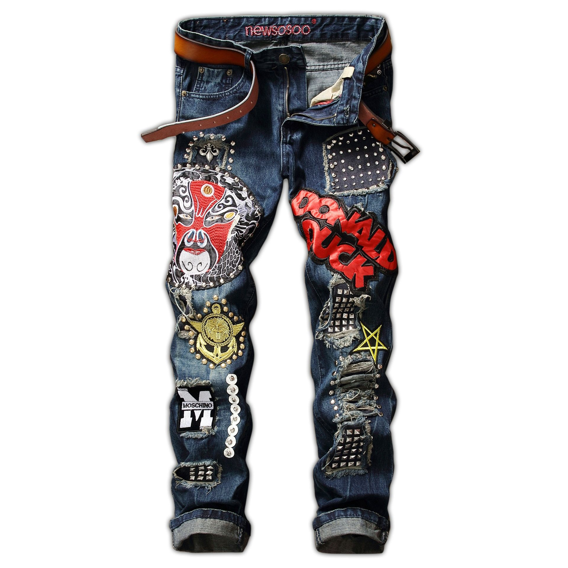 2018 Fashion European And America Men Rivet Badge Jeans Straight Jeans With Hole
