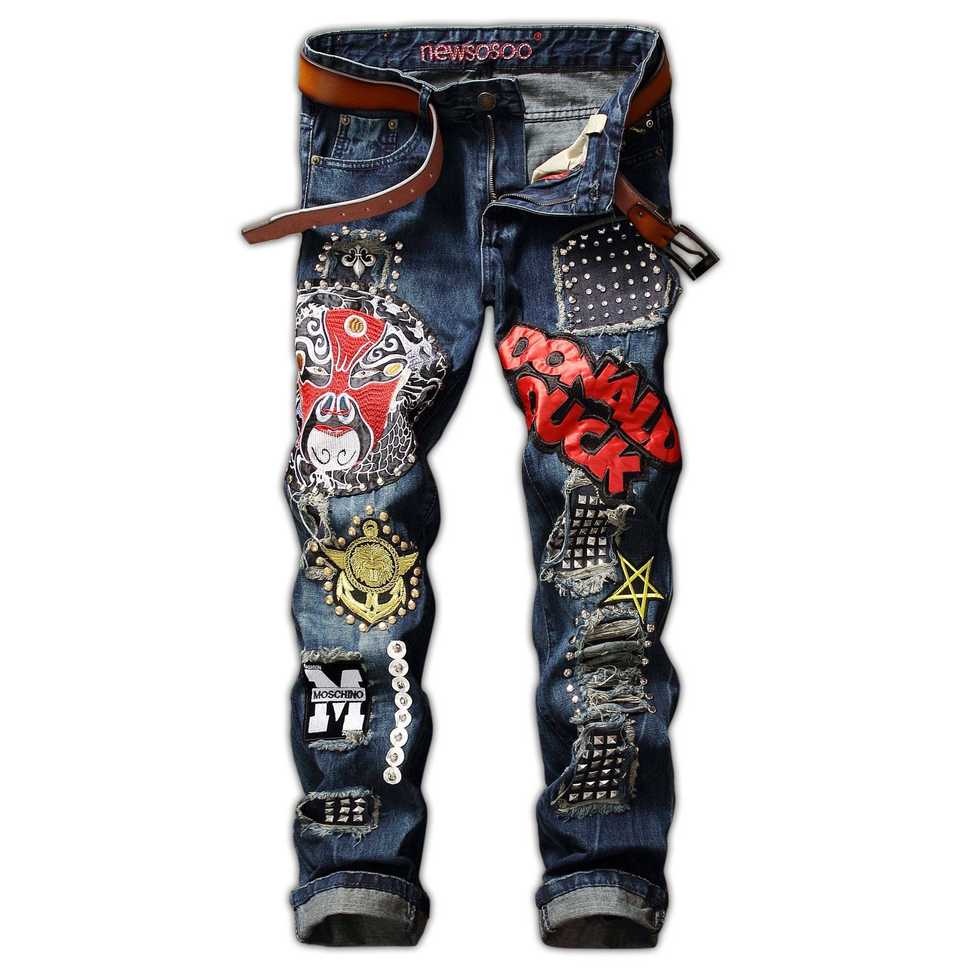 2018 Mode Européenne Et L'amérique Hommes Rivet Badge Jeans Droite Jeans Avec Trou