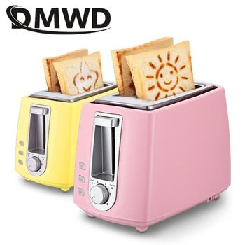 DWMD Stainless steel electric toaster household automatic baking bread maker breakfast machine toast sandwich grill oven 2 slice