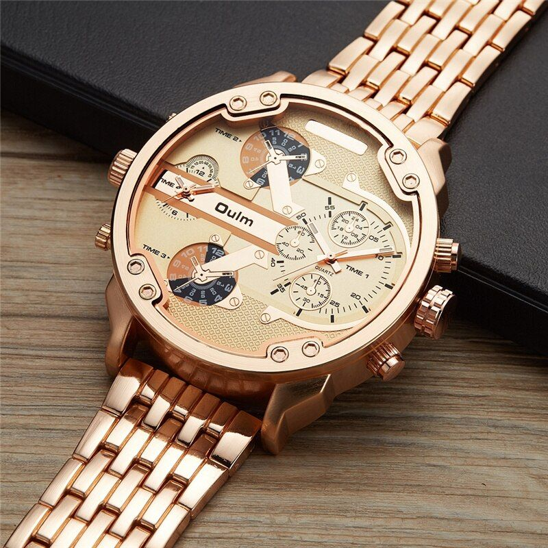 Oulm Mâle Militaire Montres Heure D'or Surdimensionné Big Quartz Top Marque Hommes Complet En Acier Inoxydable montre-Bracelet montre homme