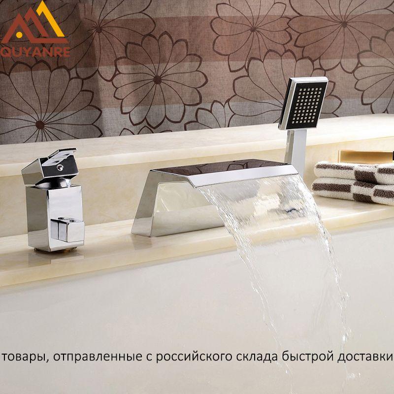 Quyanre RU Shipment Chrome 3pcs Bathtub Faucets Waterfall Spout 2-way Single Handle Mixer Tap Bathroom Shower Faucet