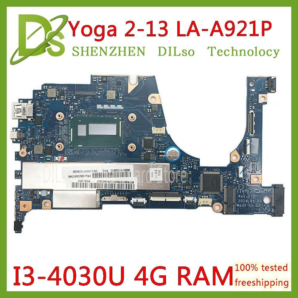 KEFU for Lenovo YOGA 2 13 Laptop Motherboard FRU 5B20G19207 LA-A921P with i3-4030U 1.70GHz CPU 4GB RAM original mothebroard