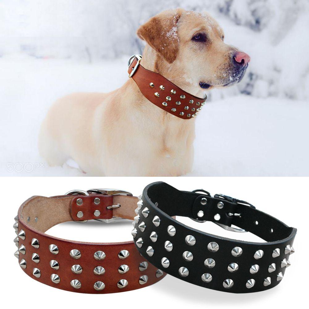 Rivets frais cloutés meilleurs colliers de chien en cuir véritable pour petits chiens de taille moyenne Boxer marron noir bouledogue Pitbull XS S M L