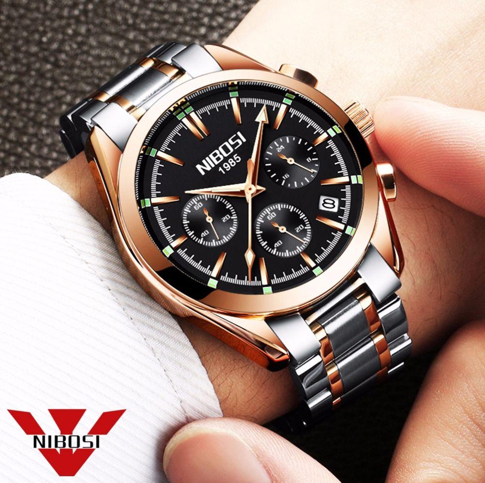 relogio masculino <font><b>saat</b></font> NIBOSI Men Watches Top Brand Luxury Fashion Business Quartz Watch Men Sport Metal Waterproof Wristwatches