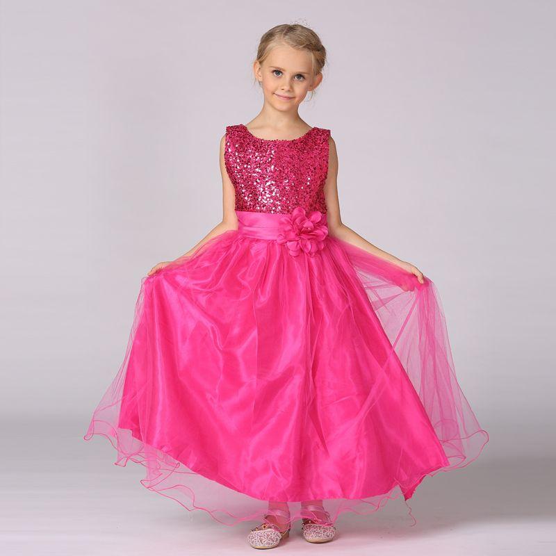 Летнее платье для маленьких девочек длинные цветочные платья для девочек для свадьбы праздничное платье принцессы с блестками бесплатная ...