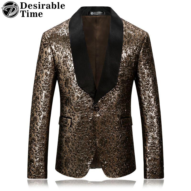 Wünschenswert Zeit Marke Mens Gold Blumen Blazer Slim Fit Schwarz Revers Party Mantel und Bühne Kostüme für Sänger DT040