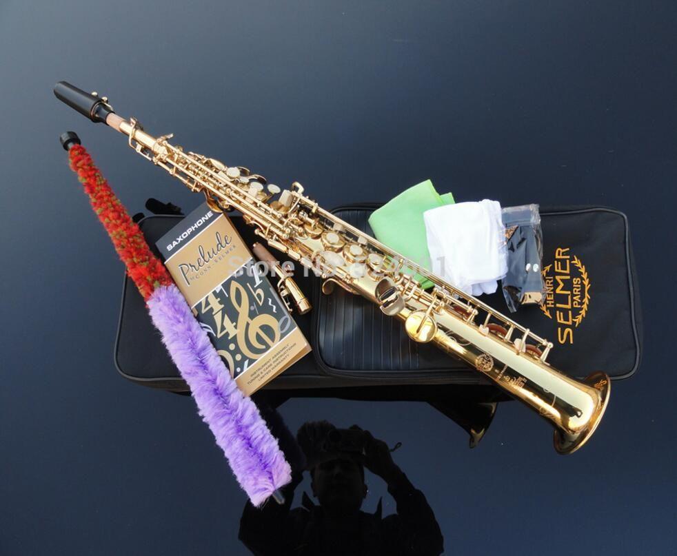 SELMER Golden straight Gold saxophone soprano B sax Gold Lacquer France super action series 80 II soprano saxophone
