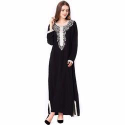Мусульманские женщины хиджаб с длинными рукавами платье макси Абая jalabiya Исламской женщины одевают одежду халат кафтан марокканской моды ...