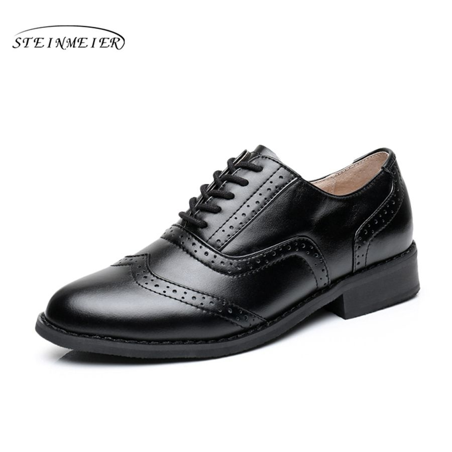 100% Genuine cow leather casual designer vintage lady flats shoes handmade oxford shoes for women 2018 black with fur