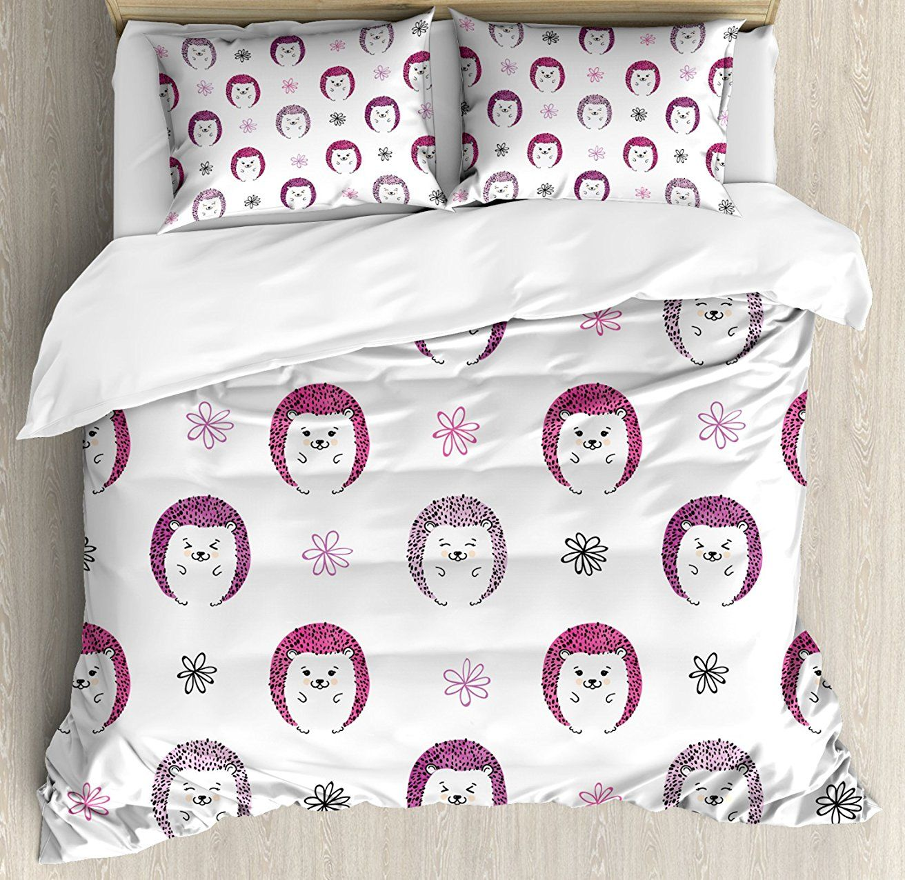 Hedgehog Duvet Cover Set , Colorful Spiky Animals with Cute Faces Doodle Flowers Cartoon Style Image, 4 Piece Bedding Set