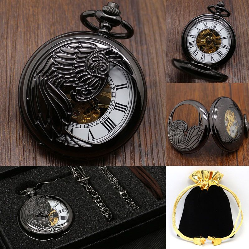 Black Hollow Steampunk Design Nurse Phoenix Necklace Pendant Automatic Mechanical Hand Winding Pocket Watch Best Gift Set