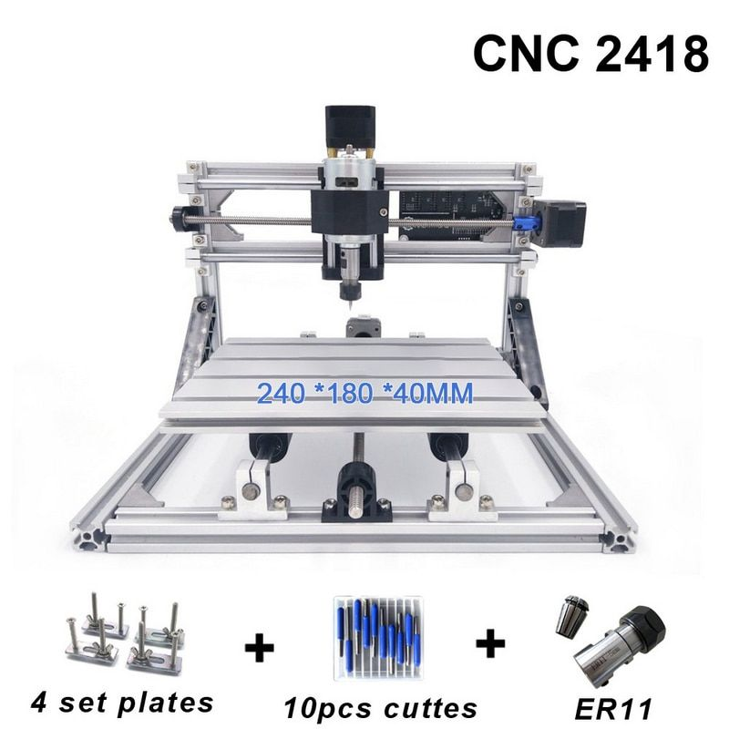 CNC 2418 Mill Laser Engraving Machine with 2500mw Head ER11 Wood Router PCB PVC Milling Machine Wood Carving Machine DIY