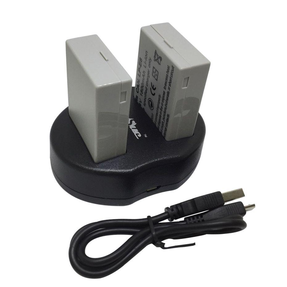 2Pcs LP-E8 LP E8 LPE8 Camera Battery + charger for Canon EOS 550D 600D 650D 700D kiss X4 X5 X6i X7i Rebel T2i T3i T4i T5i camera