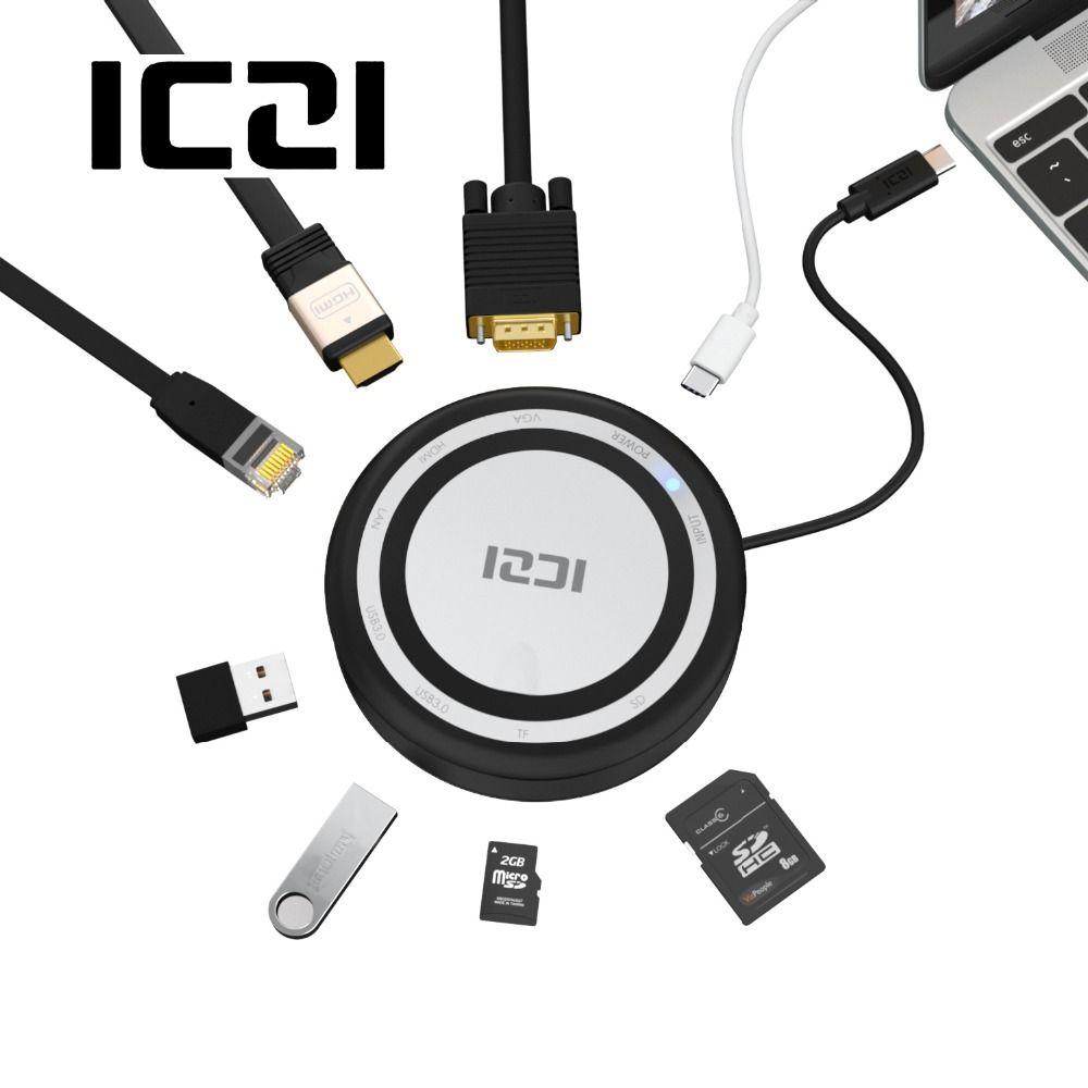 ICZI 8 in 1 USB C Hub Multifunction Type C Hub USB 3.0 Adapter HDMI VGA +TF/SD Ethernet for MacBook 2017 Pro Chromebook