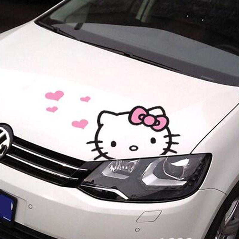 Mignon de Bande Dessinée Bonjour Kitty Capot Moteur De Voiture Corps Autocollant