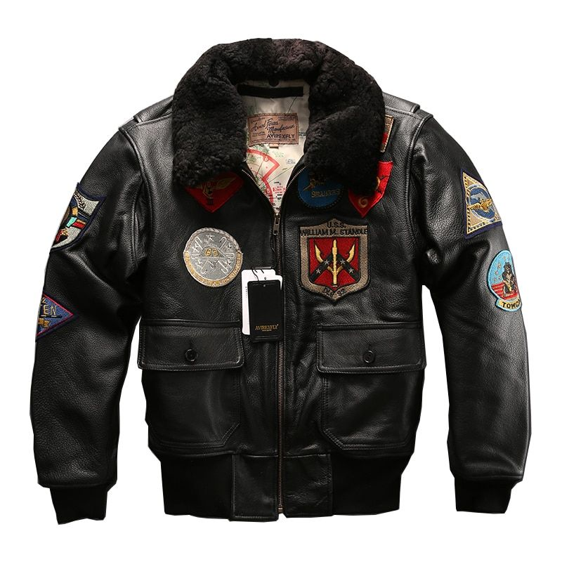 european big size air force G1 pilot warm fur collar leather jacket genuine cow leather coat thick cowhide rider jacket