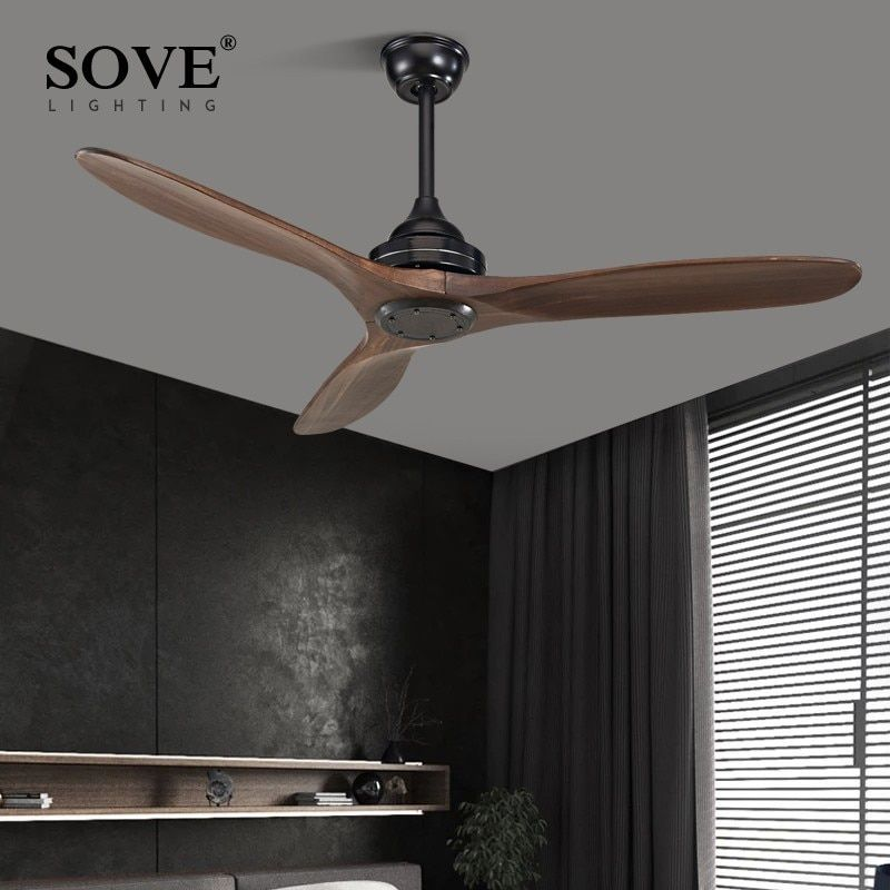 SOVE Black Industrial Vintage Ceiling Fan Wood Without Light Wooden Ceiling Fans Decor Remote Control Ventilador De Teto DC 220v