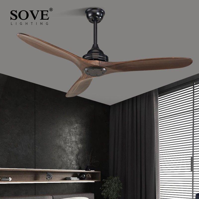 SOVE noir industriel Vintage ventilateur De plafond bois sans lumière en bois ventilateurs De plafond décor télécommande Ventilador De Teto DC 220 v