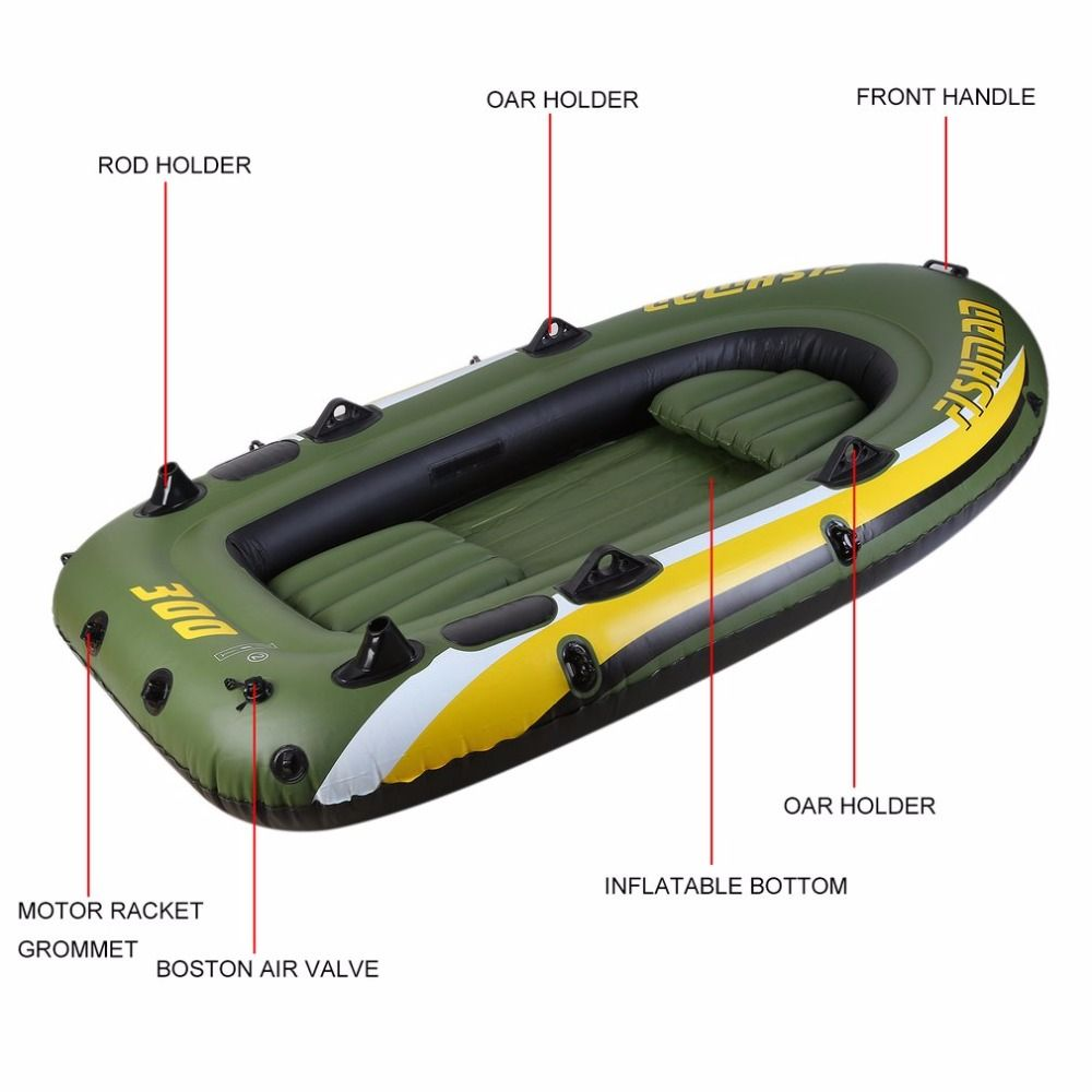 Rubber Boat Kit PVC Inflatable Fishing Drifting Rescue Raft Boat Life Jacket Two Way Electric Pump Air Pump Paddles From Russia