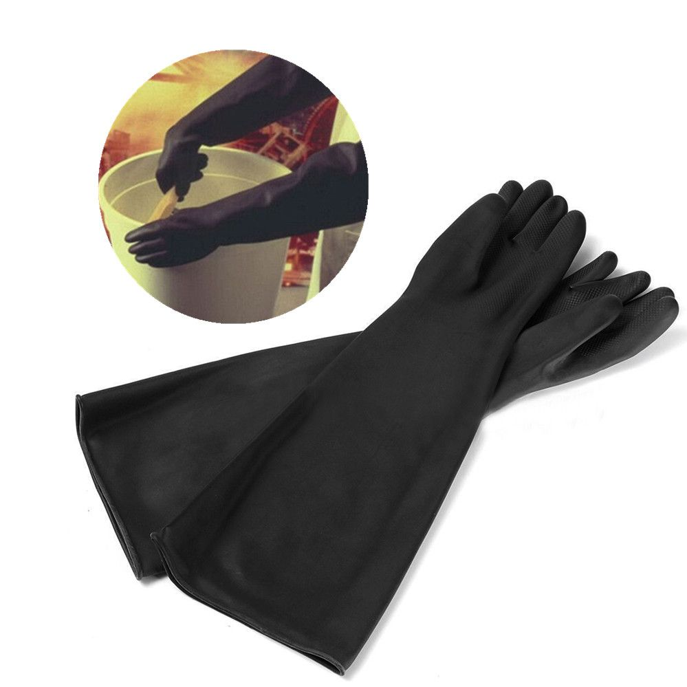 1 Pairs Black Long Protective Industry Gloves Anti Chemical Acid Alkali Rubber Work Gloves 60cm For Agriculture Forestry