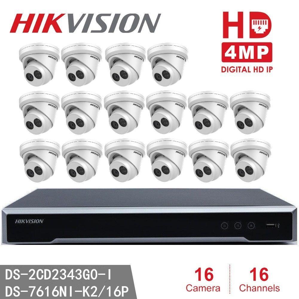 Hikvision NVR DS-7616NI-K2/16 P 8MP Auflösung Aufnahme + 16 stücke Hikvision DS-2CD2343G0-I 4MP EXIR CCTV Kamera Sicherheit Kamera