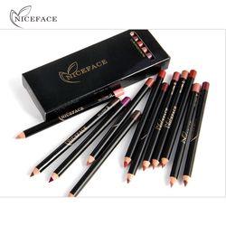 Niceface Pro 12 pcs/ensemble Couleurs Étanche Lip Liner Pencil Long-durable Sourcils Eye-À Lèvres Cosmétiques À La Mode Beauté Maquillage Kits