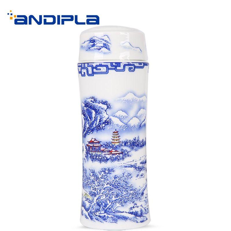 320 ML Jingdezhen peint à la main Vintage motif en céramique Double paroi vide flacon porcelaine thé bouteille d'eau couvercle Kit fleur thé tasse