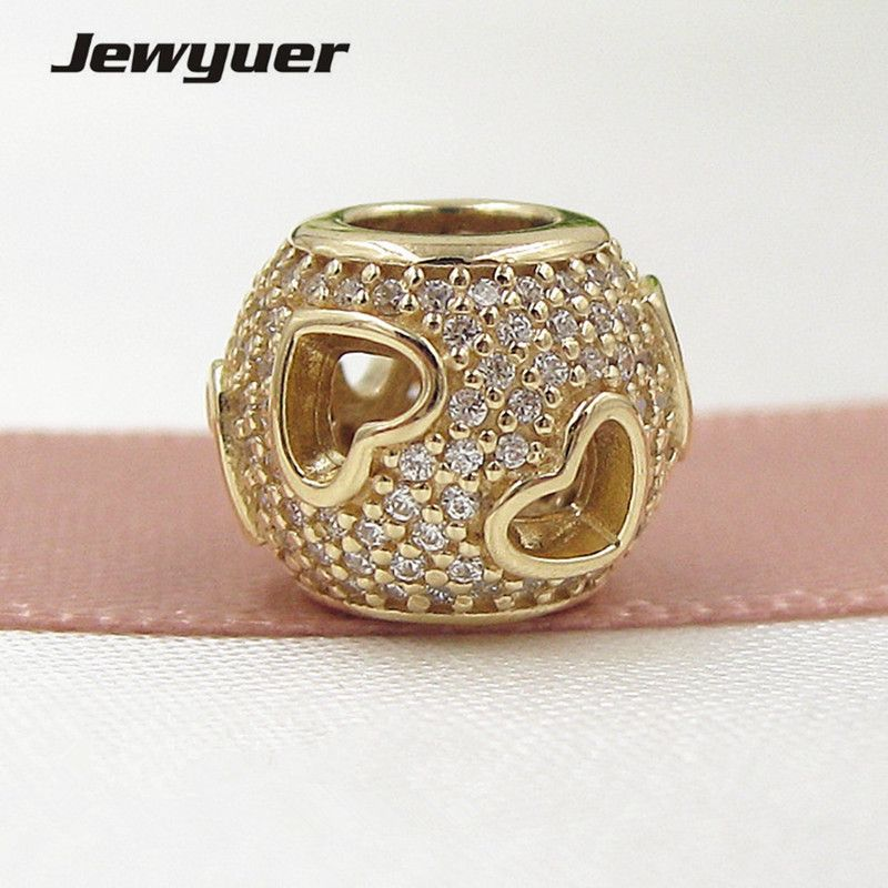 Tumbling Hearts Charms 14K solid gold love beads Fit 925 sterling silver bracelets DIY for women Memnon wholesale GD081