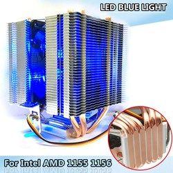 LED Biru Cahaya 6X Pipa Panas CPU Fan Untuk Intel LAG 1155 1156 AMD Socket AM3/AM2 Kualitas Tinggi Komputer Cooler Cooling Fan CPU Untuk