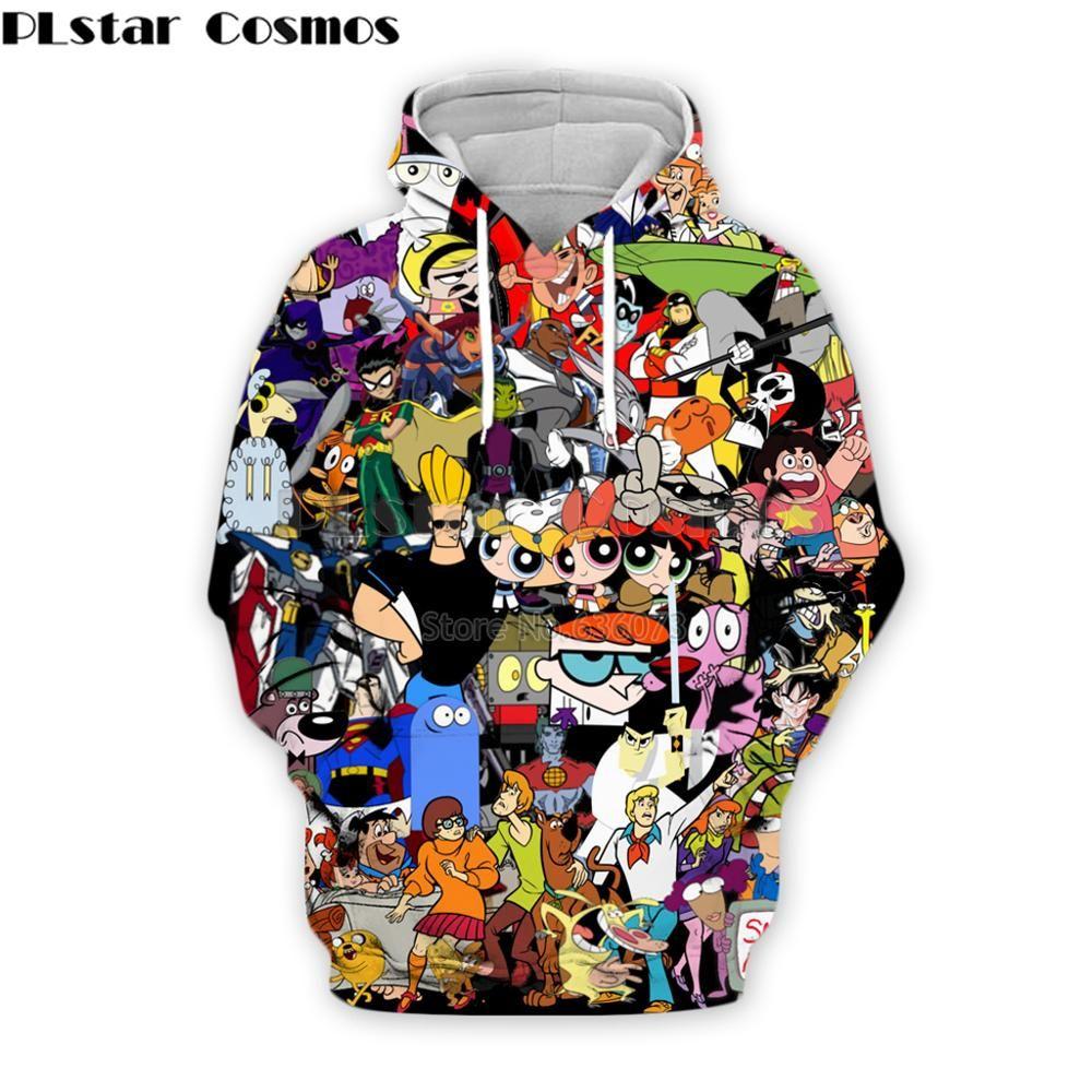 PLstar Cosmos mode hommes hoodies 90 s bande dessinée personnage collage 3D imprimé à capuche unisexe streetwear sweat à capuche