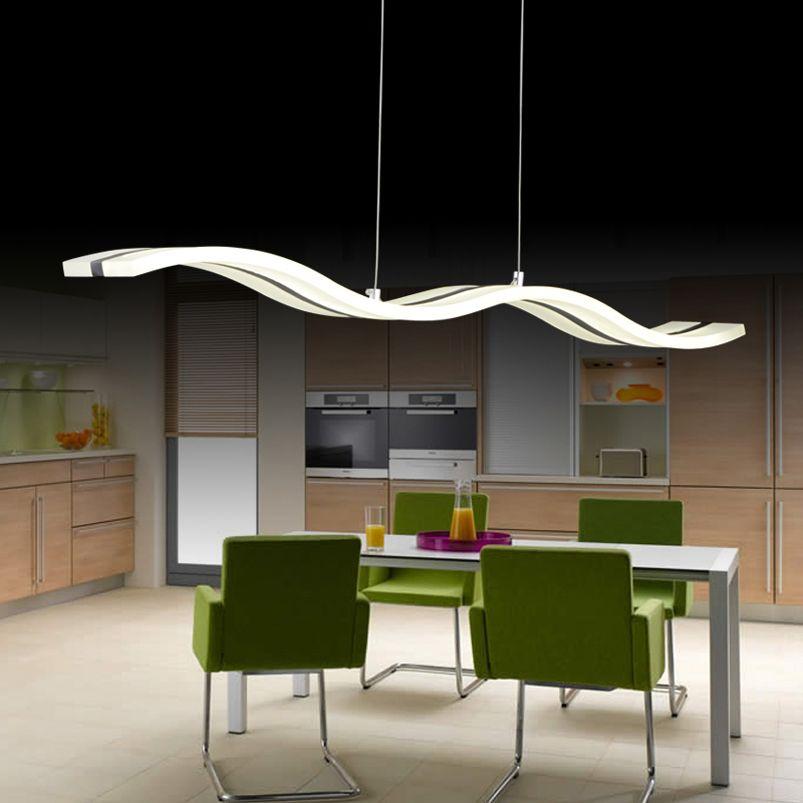 Creative moderne wave pendentif LED lampe S 38 W réglable suspension lampe salle à manger restaurant salon lustre 110 V 220 V