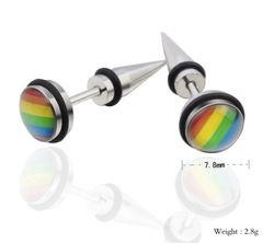 Pendants Lesbian 1 pair Gay Pride titanium steel Rainbow Lovers LGBT ear stud Jewelry earrings