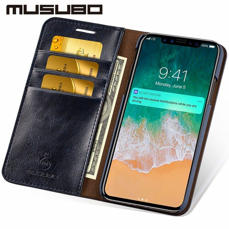 Musubo En Cuir Téléphone Housse Pour iPhone 8 Plus 5 5S SE Carte De Luxe titulaire Portefeuille Flip Cas pour iphone X 7 plus 6 s Plus 6 4 4S