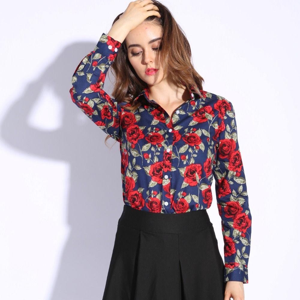 Dioufond chemisier à manches longues femmes coton Vintage Floral grande taille femme Blouse mode femmes chemise vêtements printemps haut d'automne
