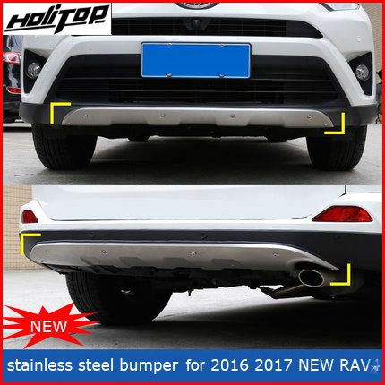 front&rear stainless steel bumper protector skid plate bumper guard for Toyota RAV4 2016 2017,Hitop-5years SUV experiences