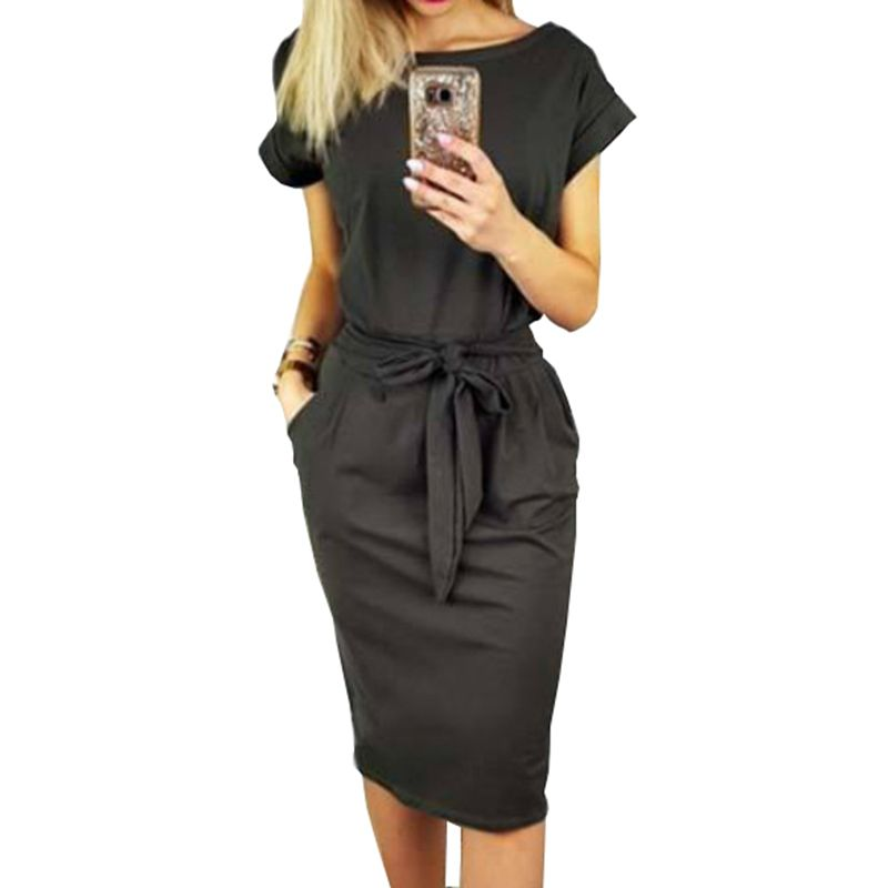 2018 New Summer Women Dress Knee-Length Sexy Bandage Bodycon Dress Short Sleeve Casual Dresses Sundress Femme GV451