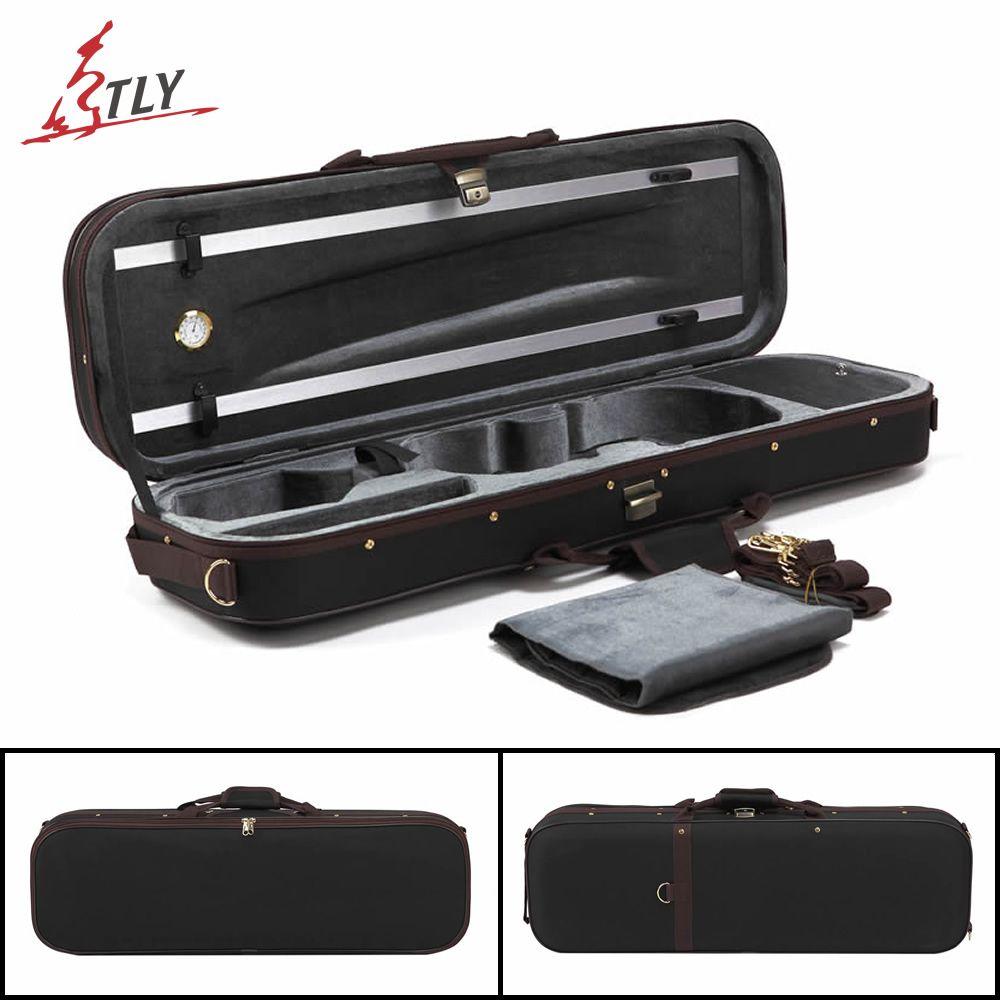 TONGLING High-end Pleuche Rectangle Violin Case 4/4 w/ Hygrometer Black Oxford Violino Case