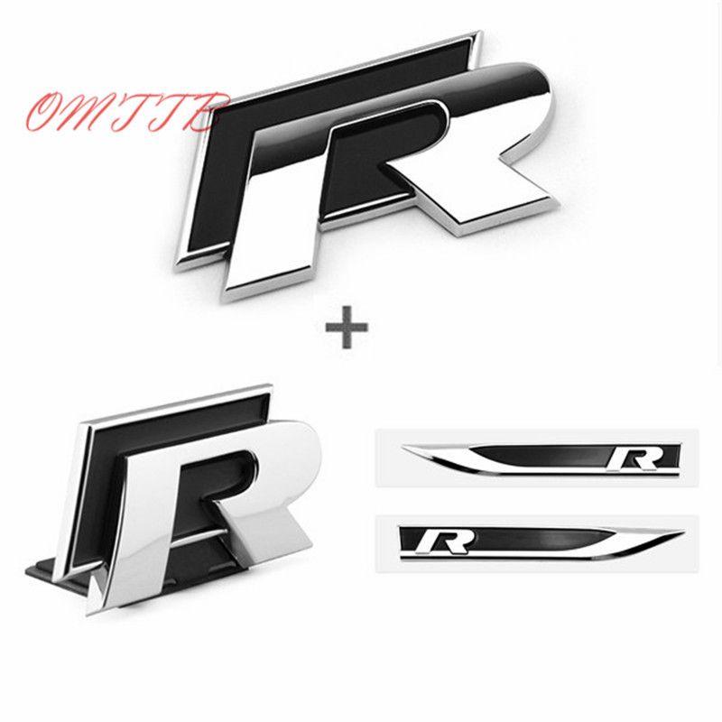 1set 3D Metal Side Wing Badge Emblem Fender R Rline Car Sticker for volkswagen VW Polo Jetta Golf 5 6 Tiguan Passat Car Styling