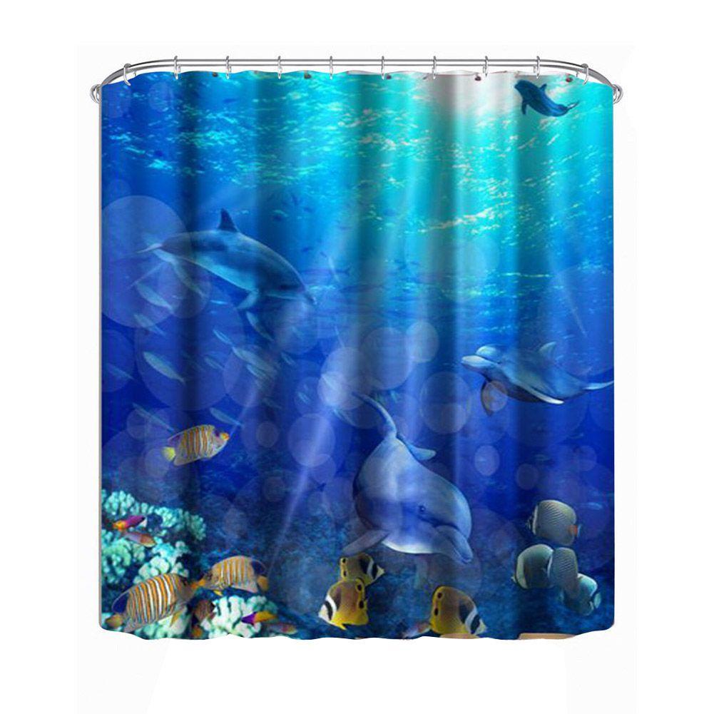 1.8 m Moderne Étanche douche 3D Coloré Rideau De Douche Salle De Bains Rideau poissons rideaux De Bain Décor Rideaux De Douche