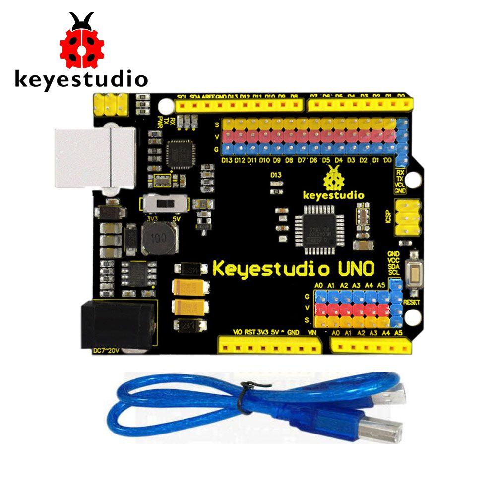 Livraison Gratuite! Keyestudio UNO R3 Version officielle améliorée avec Interface d'en-tête de broche pour Arduino bricolage
