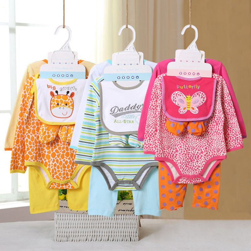 5 Pcs/set Baby Girl Clothes Bebe Bodysuit+Pant+Bib+Shoes 100% Cotton Baby Boy Clothes Newborn Bebe Clothing Sets V45