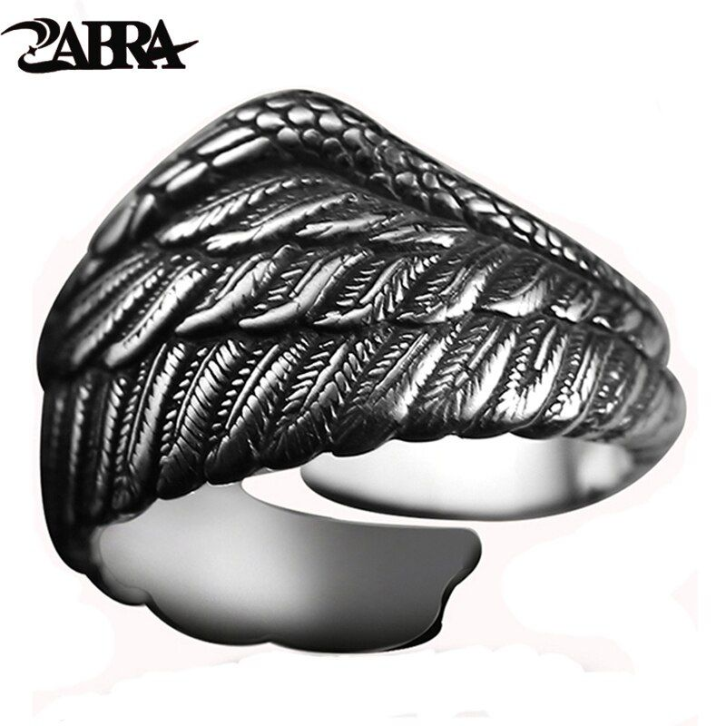 ZABRA Vintage 925 Silver Men Ring Adjustable Eagle Wing Feather Retro Black Punk Biker Man Rings Female Sterling Silver Jewelry